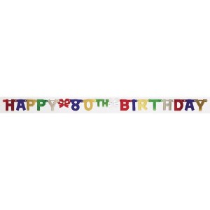 Creative Convertingパーティー装飾Jointed Banner、Happy 80th Birthday、1.83メートル One size fits most 290052