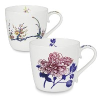 Konitz Peony and Bird Butler Collect Mugs, Set of 2 by Konitz