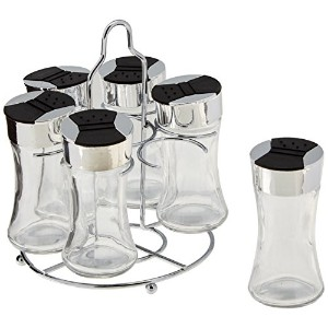 Kole OD444 Glass Spice Shakers and Stand Set, Regular by Kole
