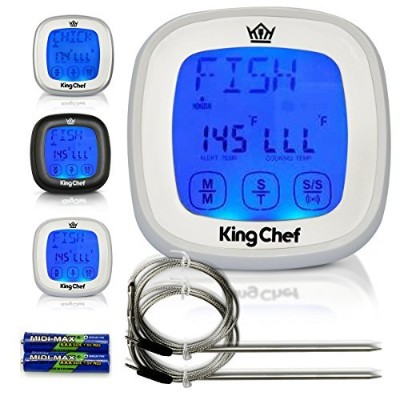 Insane Deal! King Chef Barbecue Digital Thermometer & Timer - 2 Stainless Steel Probes, Refrigerator...
