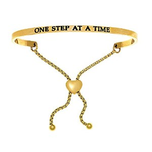 """IntuitionステンレススチールYellow Finish """" One Step at a Time """"調整可能な友情ブレスレット"""