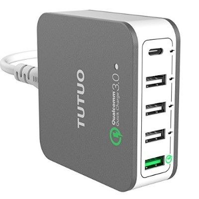 TUTUO QC 3.0 + Type-C USB急速充電器 40W ACアダプター 5ポート チャージャー for Iphone X 8 Plus/Galaxy S10 / Nexus / 3DS...