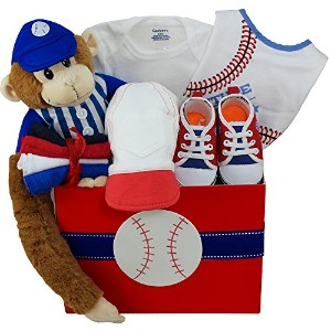 Art of Appreciation Gift Baskets American All Star Baby Boy Baseball Gift with Teddy Bear, Red...