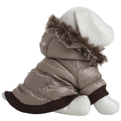 Pet Life DPF00005 Metallic Ski Parka Dog Coats with Removable Hood, Large, Gray by Pet Life