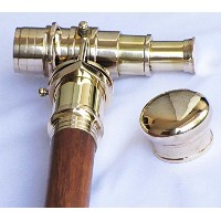 Shiv Shakti Enterprises Wooden Walking Stick With Fitted Solid Brass Telescope On Handle Simple...