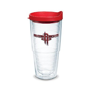 "Tervis 1051619 "" NBA Houston Rockets "" Tumbler withレッド蓋、エンブレム、24オンス、クリア"