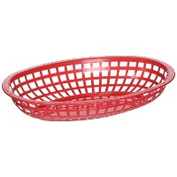 Winco Oval Fast Food Baskets, 10.25-Inch by 6.75-Inch by 2-Inch, Red by Winco