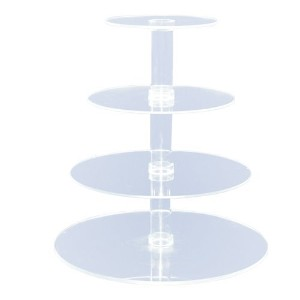 4-Tier Stacked Party Cupcake and Dessert Tower - Clear Acrylic Cake Stand (Round) - BY OFEH by...