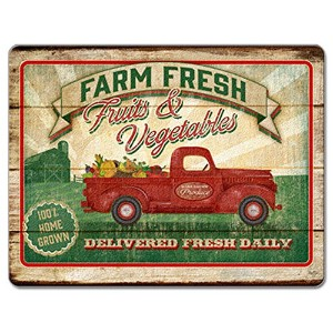 County Farm Fresh Fruits & Vegetables Glass Cutting Board by Highland Graphics