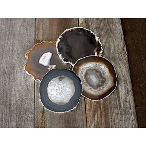 Airblasters Black color 3.5-4 inch Natural Sliced Agate Coaster Set of 4 by Airblasters