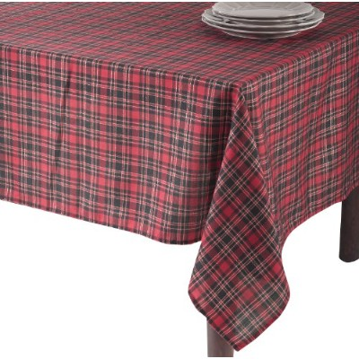 SARO LIFESTYLE 2669 Highland Holiday Plaid Tablecloth, 65-Inch by 104-Inch, Red [並行輸入品]