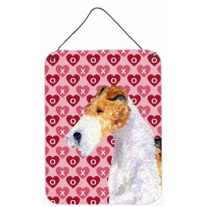 Carolines Treasures SS4478DS1216 Fox Terrier Hearts Love and Valentines Day Aluminium Metal Wall Or...