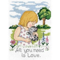 """All You Need Is Love Mini Counted Cross Stitch Kit-5""""X7"""" 14 Count (並行輸入品)"""