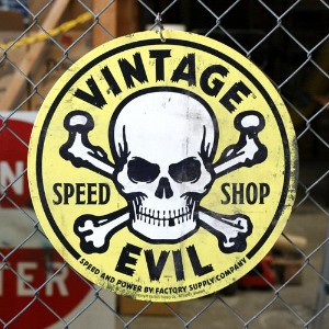 スティールサイン VINTAGE EVIL SPEED SHOP Yellow Skull (FSC-012)