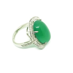 Natural Green Jade Agate Women Gemstone Silver Ring Adjust Size