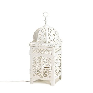 White Scrollwork Table Lamp (EA)