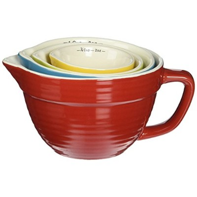 Creative Co-op Stoneware Batter-Bowl Shaped Measuring Cups, Multicolored , Set of 4 by Creative Co...