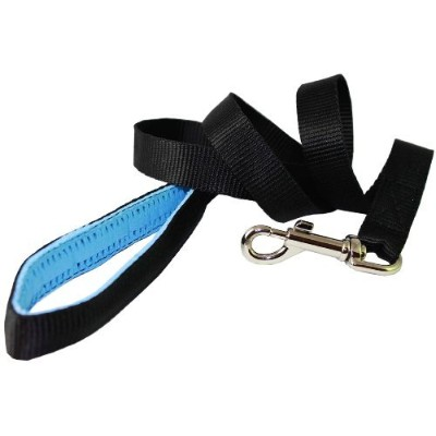 Dog Leash 1 Wide Nylon 4ft Length with Padded Handle Black Large by Dogs My Love