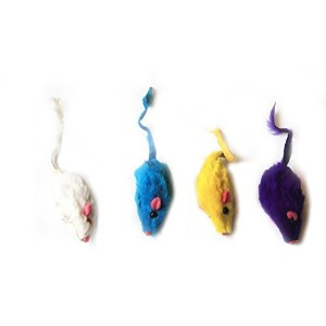 Iconic Pet 15777 Short Hair Fur Mice For Cats Mice Toy, 4 Pack - Assorted