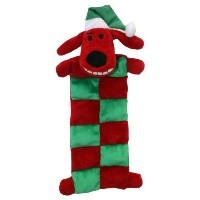 Multipet Loofa Holiday Squeaker Mat Dog Toy with Santa Hat, 12-Inch by Multi Pet