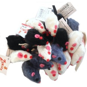 30 Realistic Cat Toy Furry Mice, White, Gray and Black by Zanies