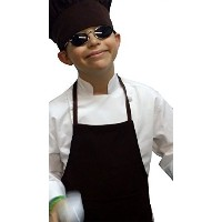Small Children Kids Chocolate Brown Chef Set Apron & Adjustable Hat Quality Lite by CHEFSKIN [並行輸入品]