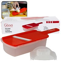 Ceramic Mandoline Slicer- 3 Piece Ceramic Slicer with Hand Guard and Food Container by Good Cooking...