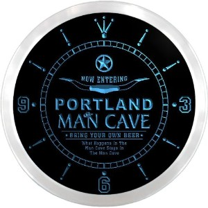 LEDネオンクロック 壁掛け時計 ncpb2079-b PORTLAND Man Cave Cowboys Beer Pub LED Neon Sign Wall Clock