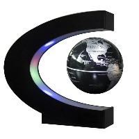 Senders Floating Globe with LED Lights C Shape Magnetic Levitation Floating Globe World Map for...