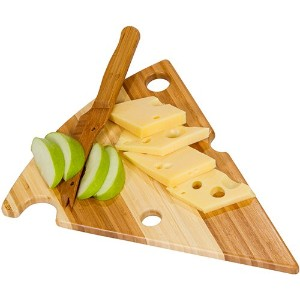 Picnic Plus Bamboo Cheese Wedge Cutting Board With Matching Bamboo Knife by Picnic Plus