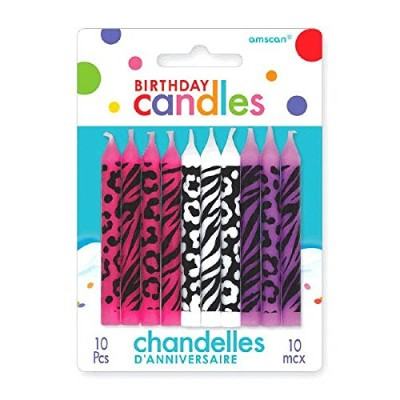 Party Time Animal Prints Novelty Birthday Candles, Pink,White,Purple , 6.4cm Wax, Pack of 1