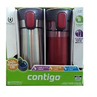 2 pk Contigo Pinnacle Thermal 14 oz Travel Mug Leak Spill Proof with Vacuum Insulated Body (Red) by...