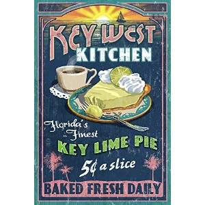 キーWest , Florida – Key Lime Pie Vintage Sign 12 x 18 Art Print LANT-33628-12x18