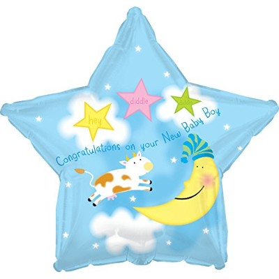 Creative Converting CTI Mylar Balloons、Hey Diddle Boy Star、17インチ、ブルー5パック