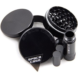 Space Case 4 Piece Titanium Herb Grinder Large w/ La Grinders Pollen Press by Space Case