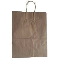 24 Brown Kraft Paper Shopping Bags with Handles 13x7x17 by Mr Miracle