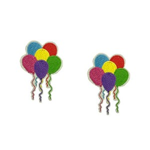 2 pieces PARTY BALLOONS Iron On Patch Fabric Applique Motif Children Decal 3.2 x 2.3 inches (8 x 5...