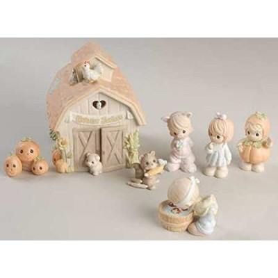 Fall Festival Precious Moments 7 Piece Set Porcelain Bisque Harvest Vignette with Lighted Barn by...