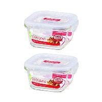 ( Pack of 2 )ロック&ロックOvenglass Airtight耐熱ガラスSquare Foodストレージコンテナ10.14-oz / 1.27-cup