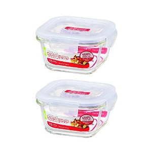 ( Pack of 2)ロック&ロックOvenglass Airtight耐熱ガラスSquare Foodストレージコンテナ10.14-oz / 1.27-cup
