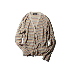 【SALE/62%OFF】ROSE BUD メンズMULTI BORDER LINEN CARDIGAN ローズバッド ニット【RBA_S】【RBA_E】