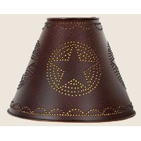 Punched Star Tin Clamp On Lamp Shade in Crackleブラック、4x 10x 8