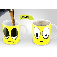 Magic Coffee Mugs Heat Sensitive Color Changing Coffee Mug Good Gift Mug Yellow Wake up Magic Mug...
