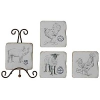 Farm Animal Coasters with Metal Stand by Creative Co-op