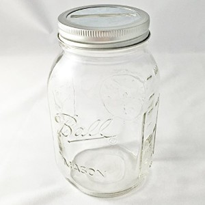 1 Mason Jar with Slotted Lid Insert Regular Mouth Quart 32oz Piggy Bank for All Ages by Ball