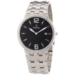 Festina Men's Quartz Watch with Black Dial Analogue Display and Silver Stainless Steel Bracelet...