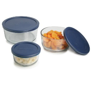 Anchor Hocking 6-Piece Round Food Storage Containers with Blue Plastic Lids by Anchor Hocking