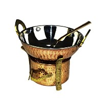Zap Impex Indian 3Pieces Serving Set銅Karahi、Angithi and Servingスプーンステンレススチールセットの1Person