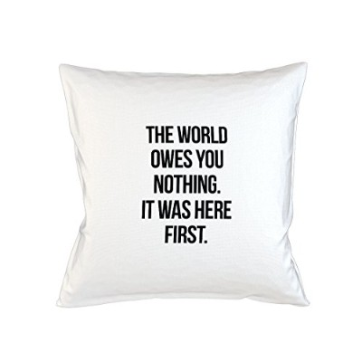 The World Oves You Nothing It Was Here First Sofa ベッドホームデコールクッション 枕カバー・ピローケース 白