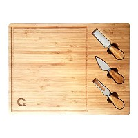 casaqoqo LargeチーズボードCutting Set with Knives andツール。100%天然竹。Good for Bread Cutting and Perfect...